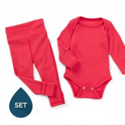 Set de haine strat de bază bebe 100% merinos, Superlove - Soft red