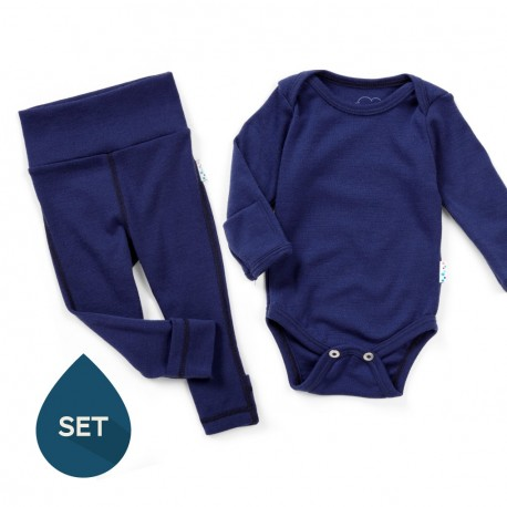Set strat de bază bebe 100% merinos, Superlove - French navy