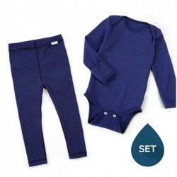 Set de haine strat de bază toddler 100% merinos, Superlove - French navy