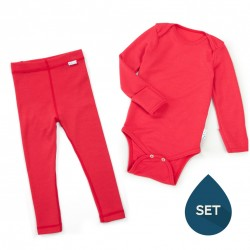 Set de haine strat de bază toddler 100% merinos, Superlove - Soft red