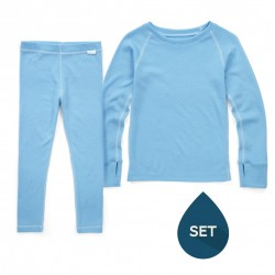 Set de haine strat de bază junior 100% merinos, Superlove - Sky blue