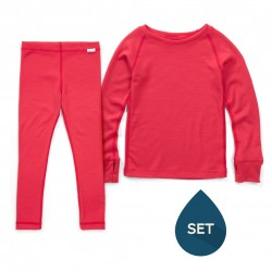 Set strat de bază junior 100% merinos, Superlove - Soft red